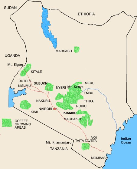 Coffee growing in kenya coffee conservation the primary growing regions included on the map are those surrounding mt kenya nyeri muranga kirinyaga embu and meru nakuru machakos gumiabroncs Images